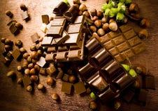 Cioccolato & noci fotografie stock