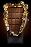 Cioccolato in barra con il coperchio aperto Fotografia Stock Libera da Diritti