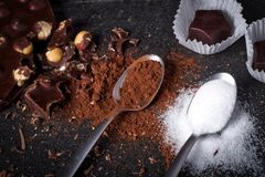 Cioccolato, cacao e zucchero Fotografia Stock Libera da Diritti