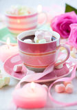 Cioccolato caldo e caramella gommosa e molle Immagini Stock Libere da Diritti