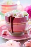 Cioccolato caldo e caramella gommosa e molle Immagine Stock