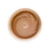 Cioccolato caldo osservato da sopra isolato su bianco Fotografia Stock Libera da Diritti