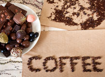 Cioccolato, chicchi di caffè, caramella Fotografie Stock Libere da Diritti