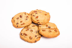 Cioccolato Chip Cookies del pecan su bianco Fotografie Stock