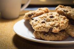 Cioccolato Chip Cookies della farina d'avena Fotografie Stock