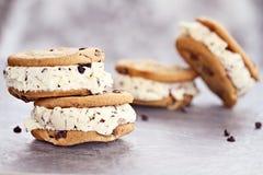 Cioccolato Chip Ice Cream Cookie Sandwiches Immagini Stock