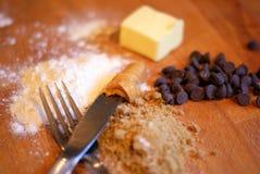 Cioccolato Chip Peanut Butter Cookies Ingredients Immagine Stock Libera da Diritti