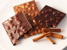 Cioccolato con gli ingredienti Immagine Stock