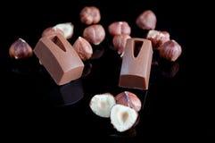 Cioccolato con i dadi fotografia stock