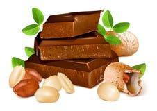 Cioccolato con le arachidi Fotografia Stock