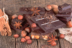 Cioccolato con le nocciole Fotografia Stock