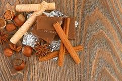 Cioccolato, dadi e spezia Fotografie Stock Libere da Diritti