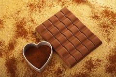 Cioccolato del cacao e Fotografia Stock