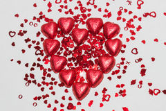 Cioccolato del cuore con i cuori minuscoli Immagini Stock Libere da Diritti