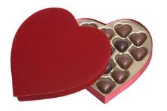 Cioccolato del cuore dei biglietti di S. Valentino Immagine Stock