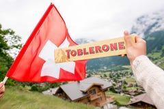 Cioccolato della barra di Toblerone Fotografie Stock Libere da Diritti