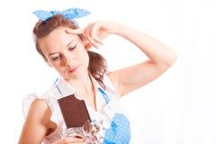 Cioccolato di amore delle ragazze Fotografie Stock Libere da Diritti