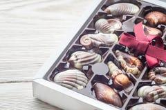 Cioccolato di lusso fatto a mano in una scatola - sparata in studio immagine stock libera da diritti