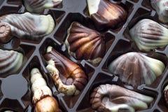Cioccolato di lusso fatto a mano in una scatola - sparata in studio fotografie stock