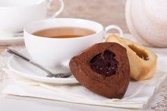 Cioccolato e biscotti di Vanella Hamantash Fotografie Stock