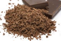 Cioccolato e blocchi grattati Fotografia Stock Libera da Diritti