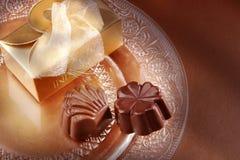 Cioccolato e casella fotografia stock