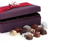 Cioccolato e casella di lusso immagini stock libere da diritti