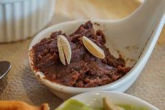 Cioccolato e fagiolo sul cucchiaio Immagine Stock