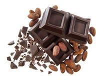 Cioccolato e fave cacao Royalty Free Stock Photo