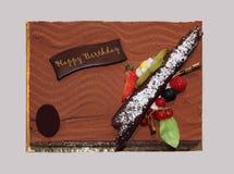 Cioccolato e frutti della torta di compleanno Fotografia Stock Libera da Diritti