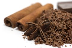 Cioccolato grattato con le spezie Fotografia Stock