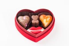 Cioccolato isolato del cuore Fotografia Stock