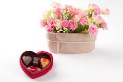 Cioccolato isolato del cuore Fotografie Stock Libere da Diritti