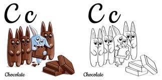 Cioccolato Lettera C, pagina di coloritura di alfabeto di vettore Royalty Illustrazione gratis