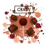 Cioccolato Lolly Dessert Colorful Icon Choose di Candy il vostro manifesto del caffè di gusto illustrazione vettoriale