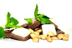 Cioccolato, menta ed arachidi Immagini Stock Libere da Diritti