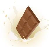 Cioccolato nella spruzzata del latte Fotografia Stock