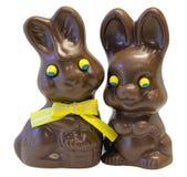 Cioccolato Pasqua Bunny Pair Fotografia Stock Libera da Diritti