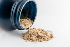 Cioccolato in polvere del proteina del siero isolato su fondo bianco Fotografia Stock