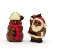 Cioccolato Santa e pupazzo di neve Immagini Stock Libere da Diritti