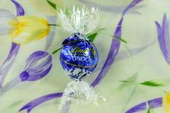 Cioccolato saporito di Lindt Lindor sopra fondo di seta Immagine Stock Libera da Diritti