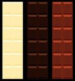 Cioccolato scuro e bianco del latte, senza giunte. Fotografia Stock