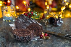 Cioccolato Yule Log fotografia stock