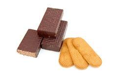 Cioccolato zuccherato e biscotti Fotografia Stock Libera da Diritti