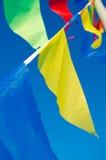 Ciondolando nelle bandiere di festa del vento Fotografie Stock Libere da Diritti