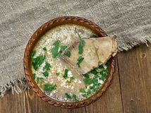 Romanian lamb soup. Ciorba de miel cu bors - romanian lamb soup close up royalty free stock photography