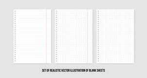 Ciosowi i prążkowani papierowi prześcieradła Wektorowy realistyczny papieru prześcieradło linie i kwadrata notepad strony ustawia ilustracja wektor