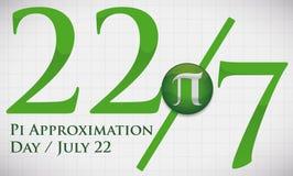 Ciosowy Whiteboard z datą i frakcją dla aproksymaci Pi dnia, Wektorowa ilustracja Obrazy Royalty Free