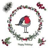 Ciosowy wianek z jagodami, liśćmi i Czerwonym rudzikiem, Wektorowy Ilustracyjny biel ilustracja wektor