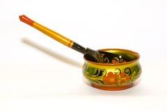 Ciotola artistica con il cucchiaio Fotografia Stock